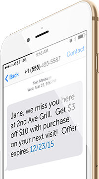 Retention text message sent from digital loyalty program
